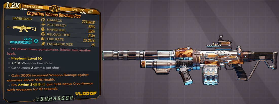 ★★★[PC] M10/L60 - DOWSING ROD 77100x2 DMG (110% CRYO EFFICIENCY) - 2.3s RELOAD - ANOINTED x2★★★