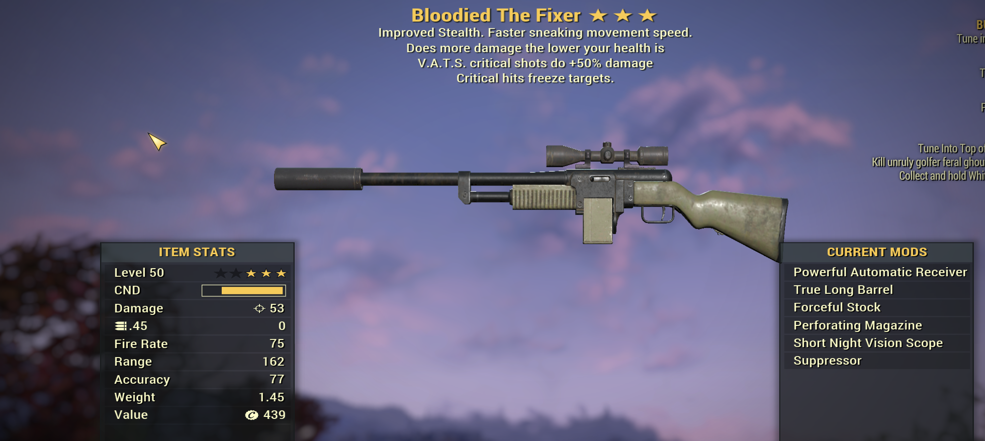 Bloodied 50% VATS critical shots  The Fixer [Freezing Crits]
