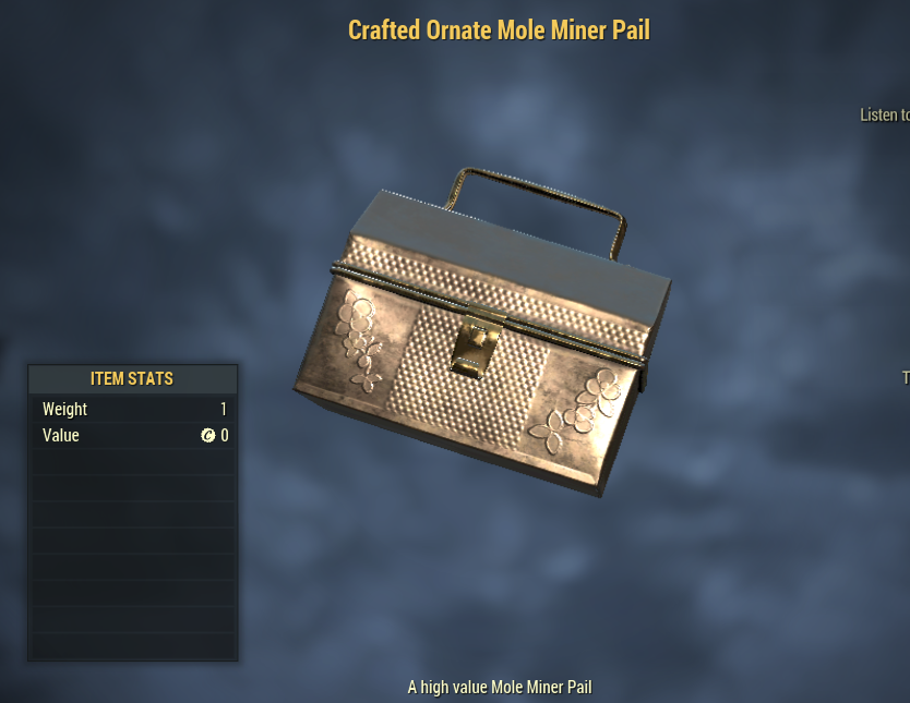1500x Crafted Ornate Mole Miner Pail[Treasure Hunt Event]