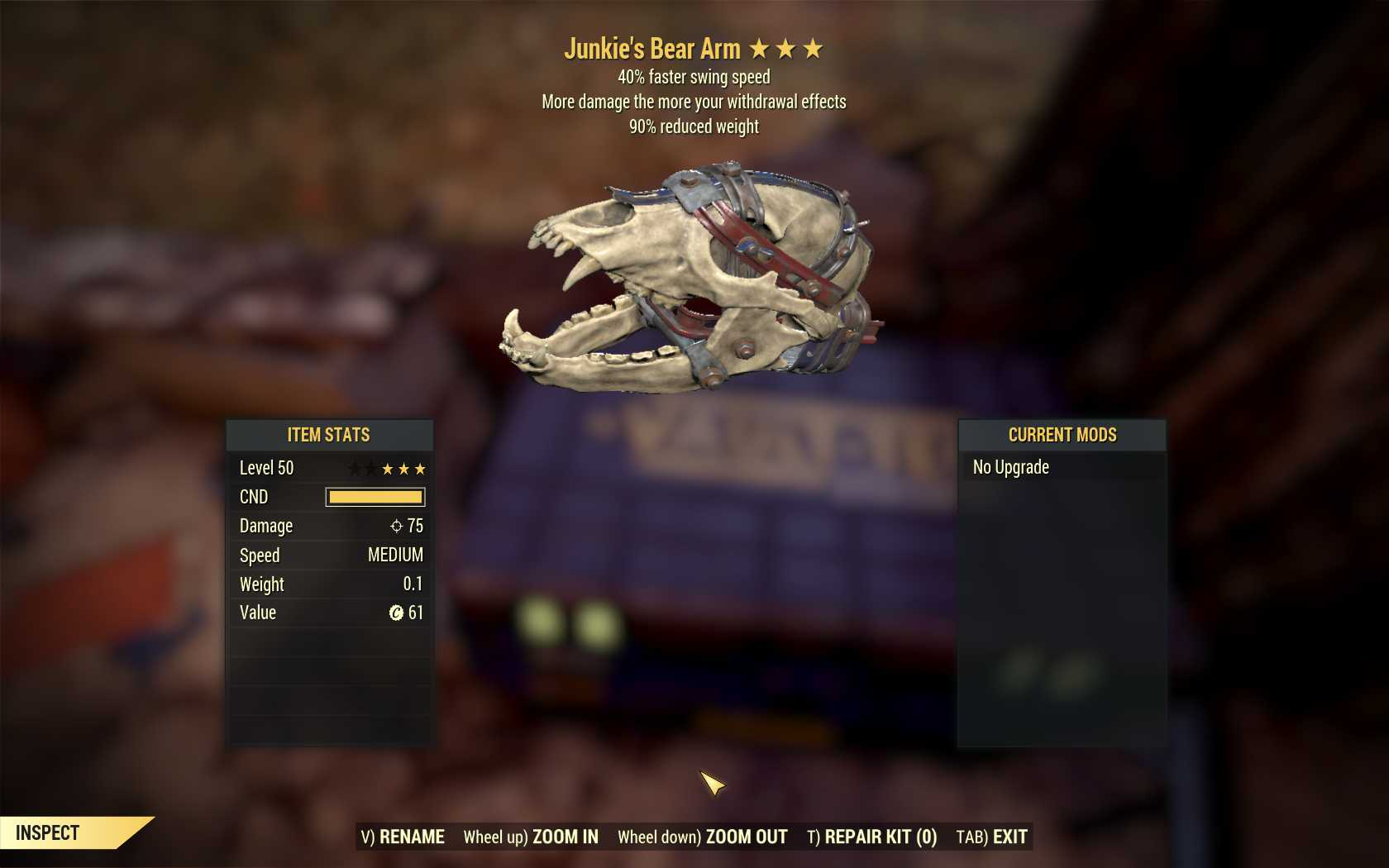 [3 Stars]Junkie's Bear Arm+40% Faster Swing Speed+90% reduced weight
