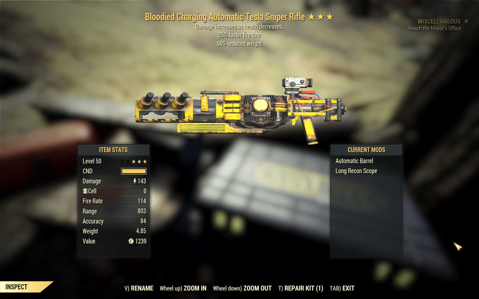 [Glitched weapon] Bloodied Tesla Sniper rifle (25% faster fire rate, 90% reduced weight)