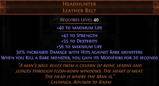 Headhunter - Leather Belt - Standard SC