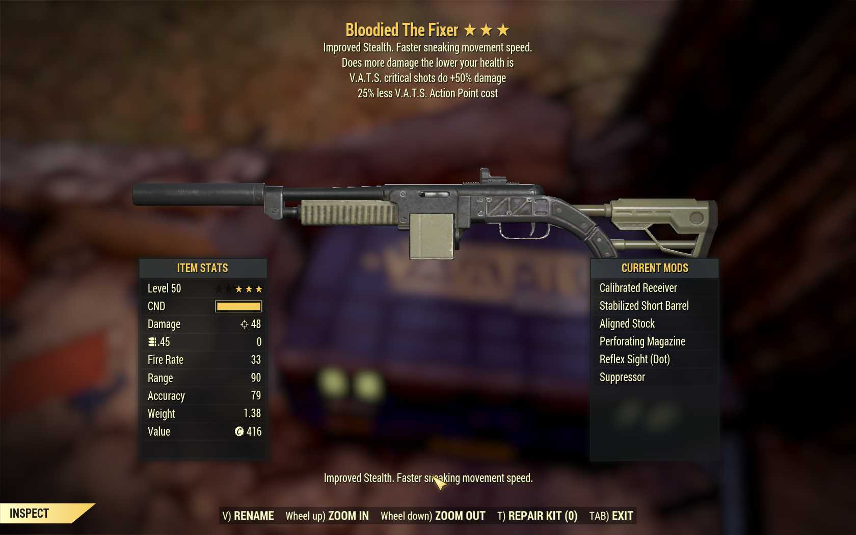Bloodied The Fixer (50% critical damage, 25% less VATS AP cost)