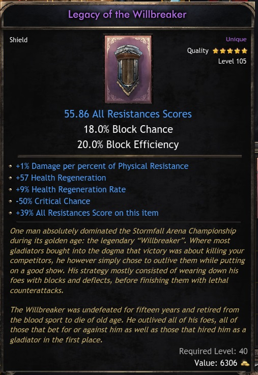 Unique Shield Legacy of the Willbreaker