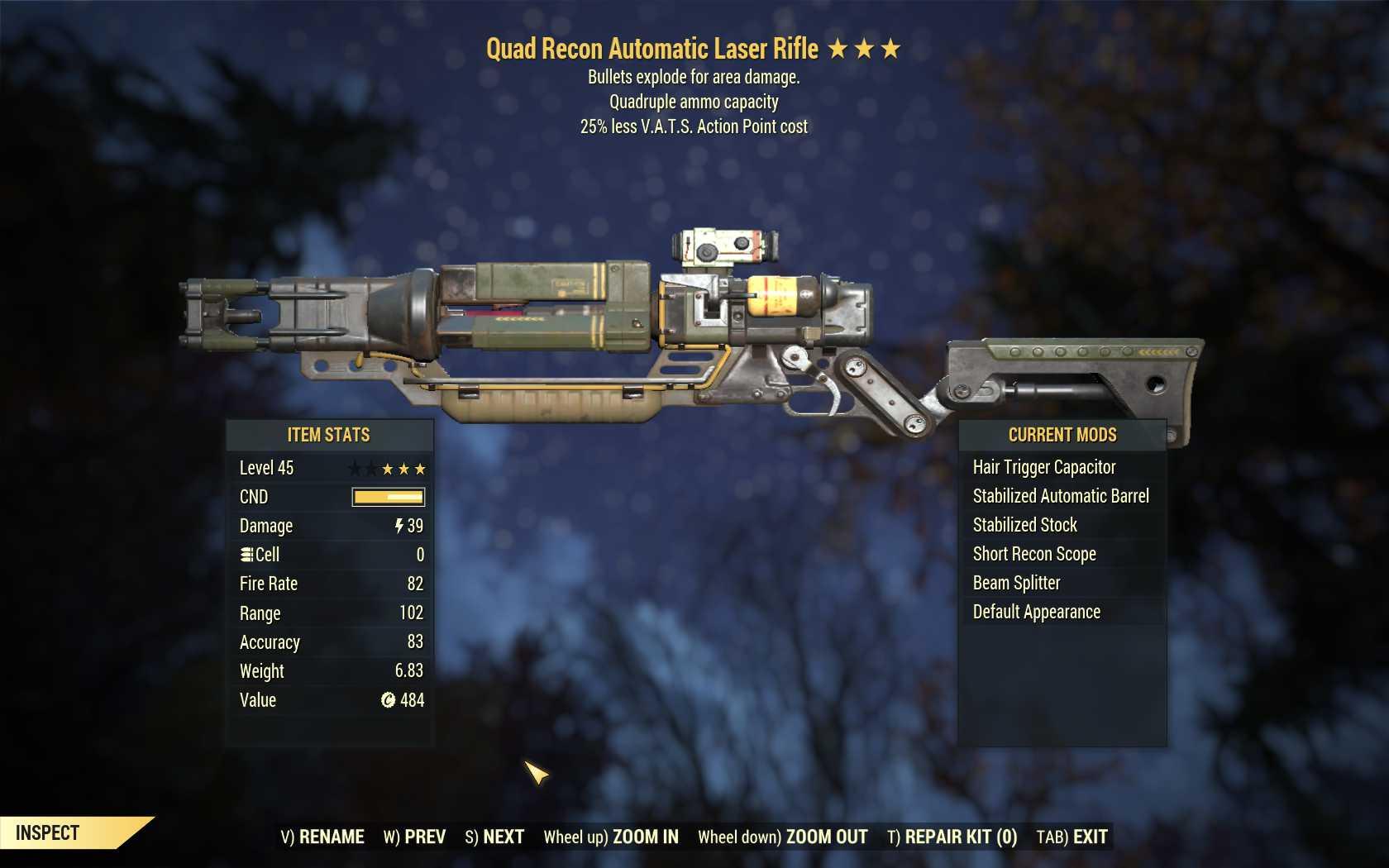 Quad Explosive Laser rifle (25% less VATS AP cost)