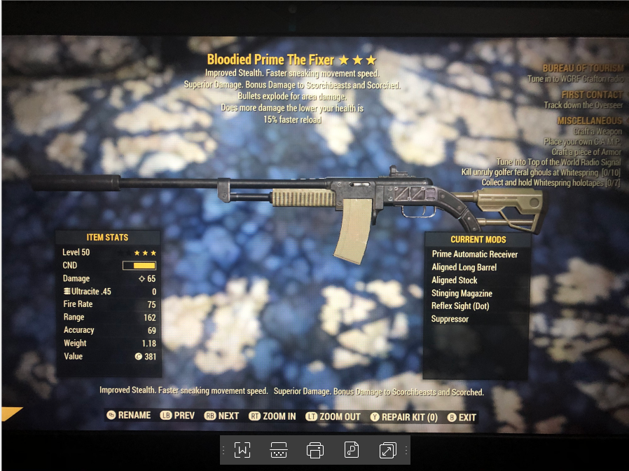 Bloodied Explosive The Fixer 15% Faster Reload