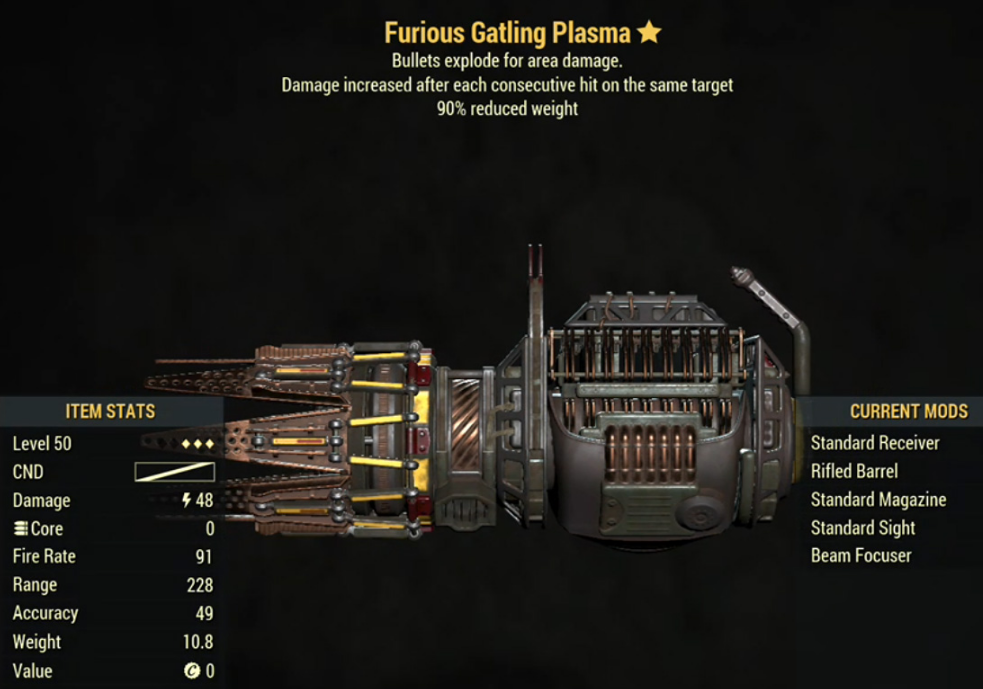 Furious Gatling Plasma- Level 50