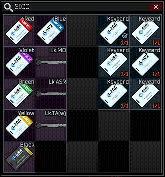 S I C C case + Lab. full keyset - Red, Blue, Black, Yellow, Green, Violet + 3 keys + 6 White Keycard