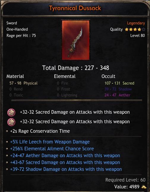 Legendary 1H Sword 227-348 Full occult dps