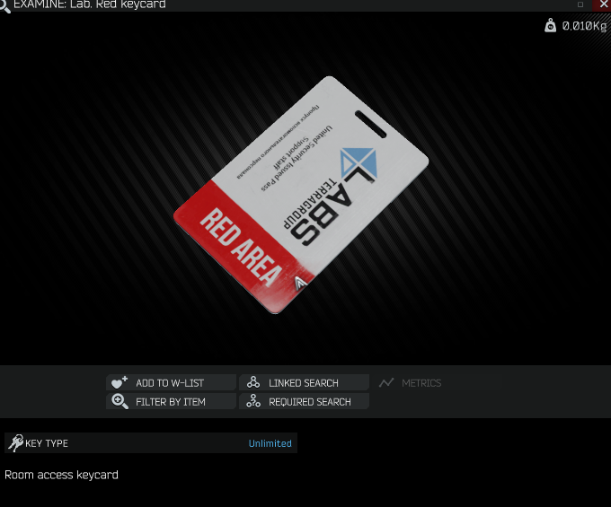 Lab. Red keycard in doc case