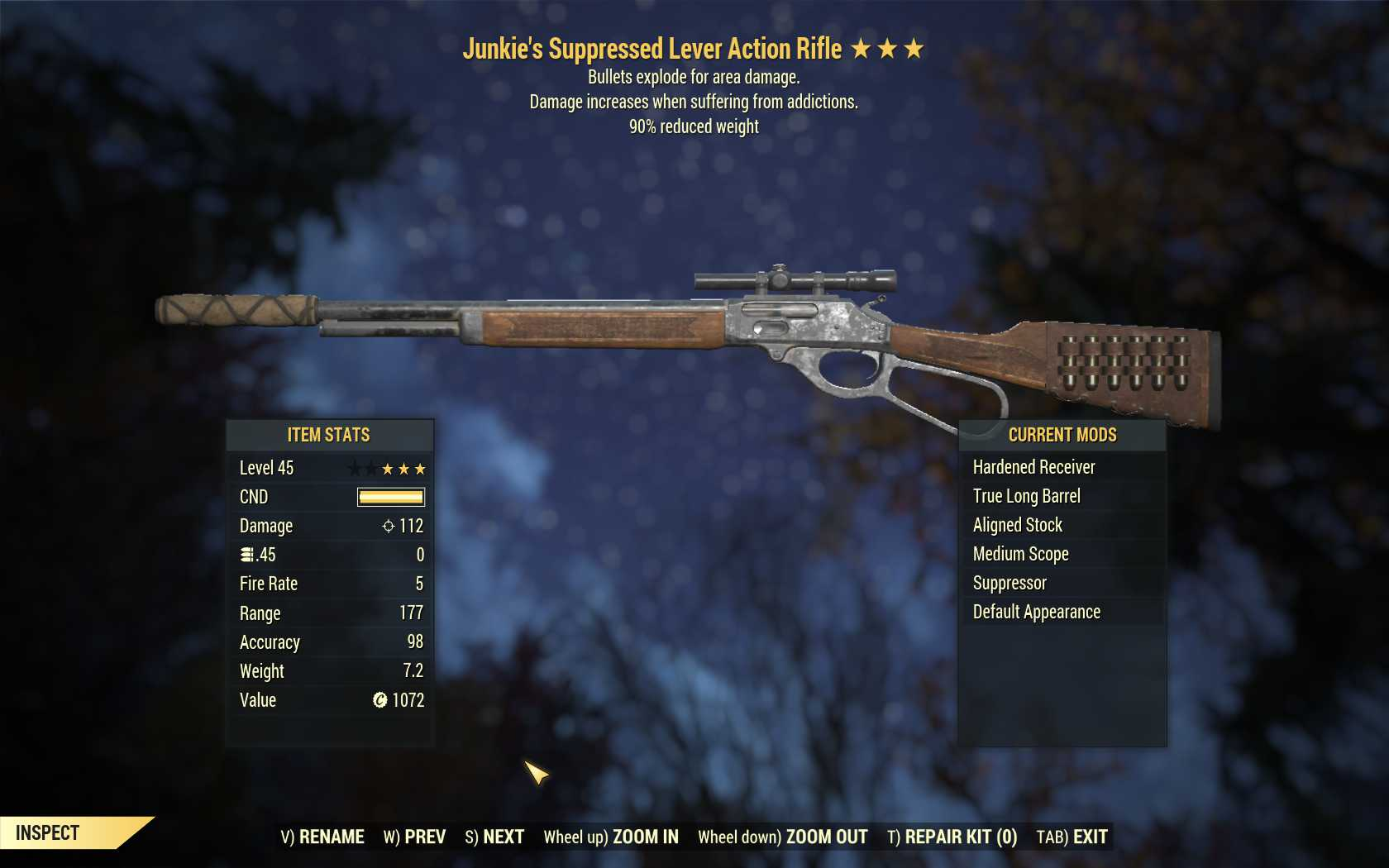 Junkie's Explosive Lever Action Rifle (90% reduced weight)