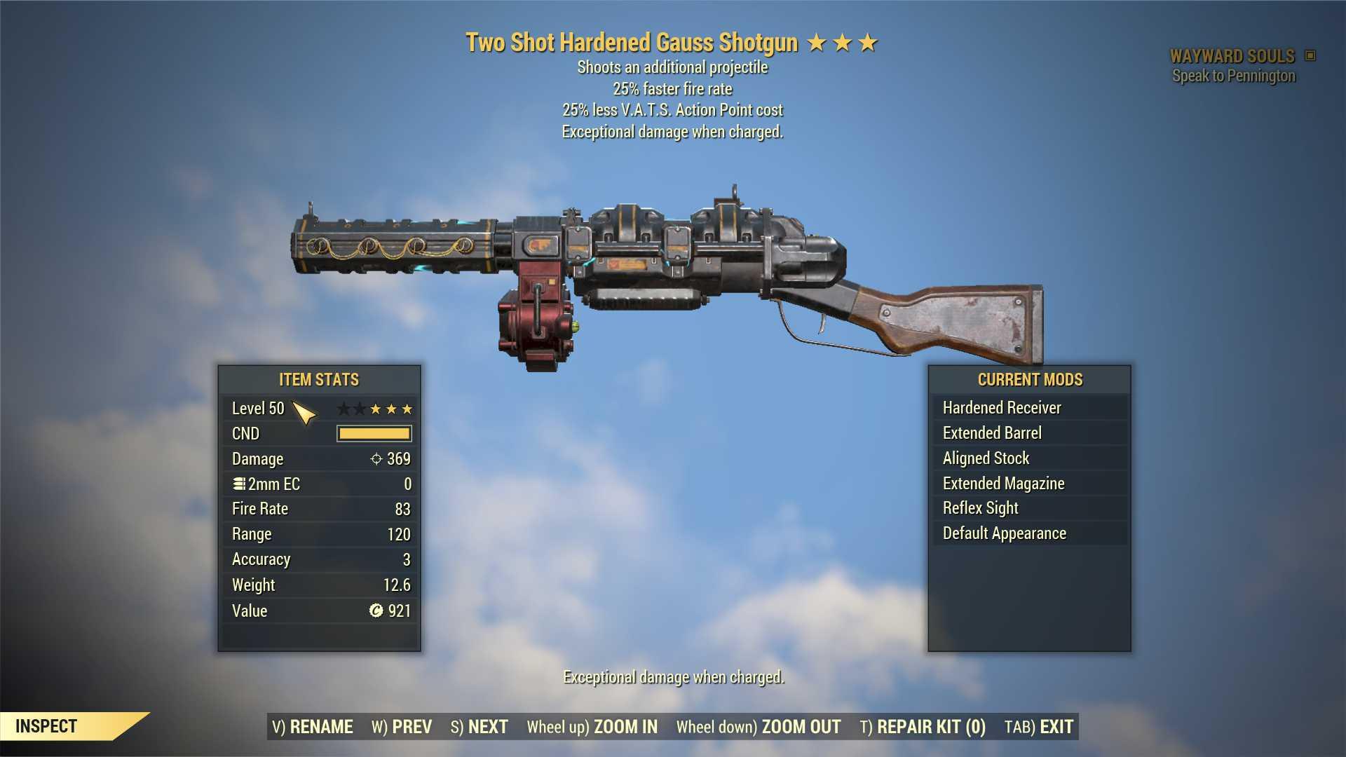 Two Shot Gauss Shotgun (25% faster fire rate, 25% less VATS AP cost) FULL MODDED [Wastelanders]