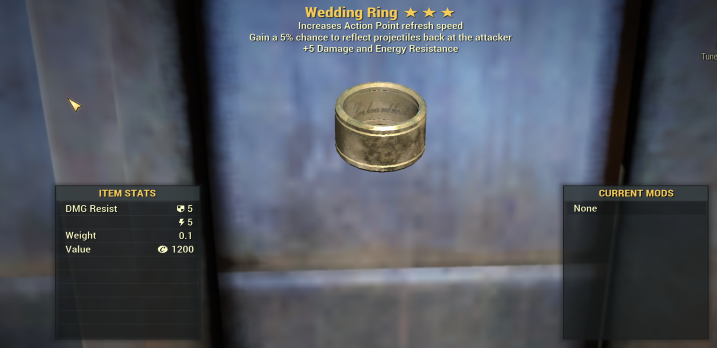 Wedding Ring 5% reflect + 5 Damage Resist + Ap Refresh [Legendary Outfit]