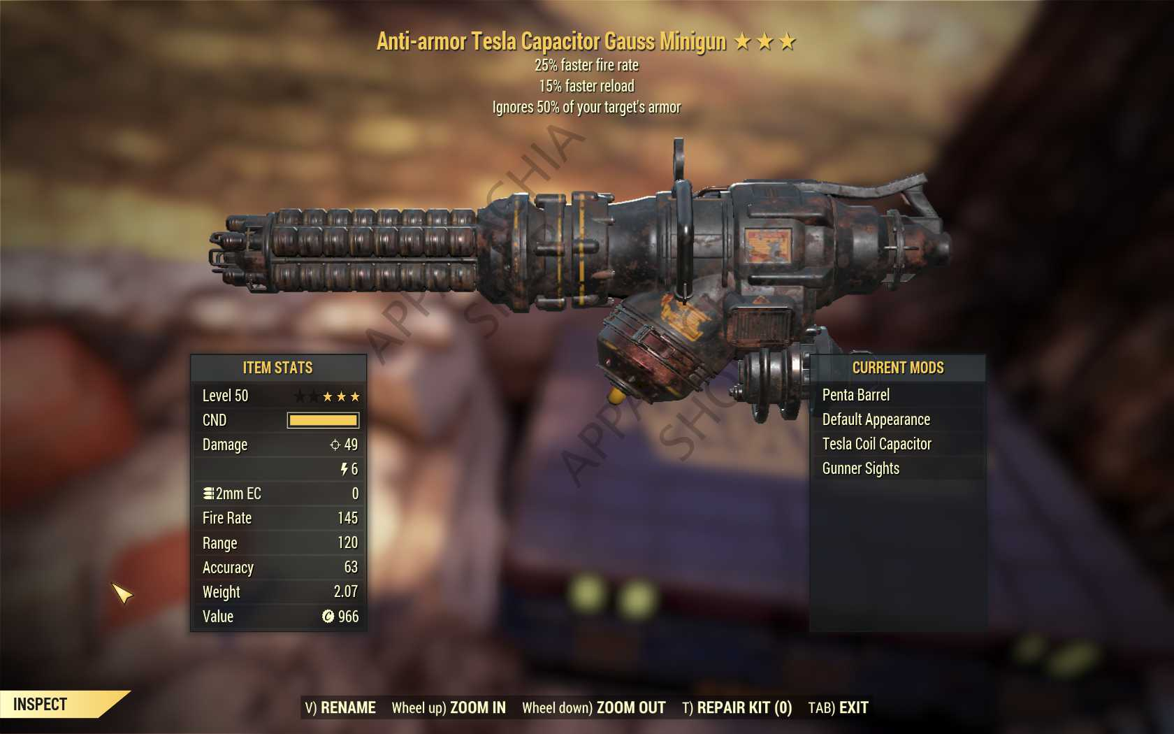 Anti-Armor Gauss Minigun (25% faster fire rate, 15% faster reload) FULL MODDED [Wastelanders]