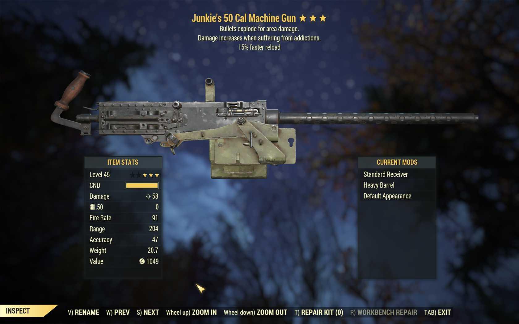 Junkie's 50 Cal Machine Gun (25% faster fire rate, 15% faster reload)
