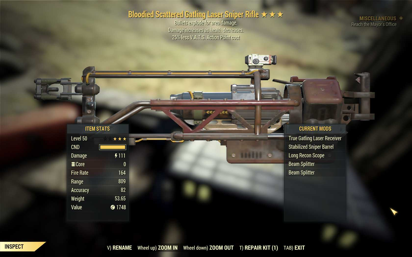 [Glitched weapon] Bloodied Explosive Gatling laser sniper rifle (25% less VATS AP cost)