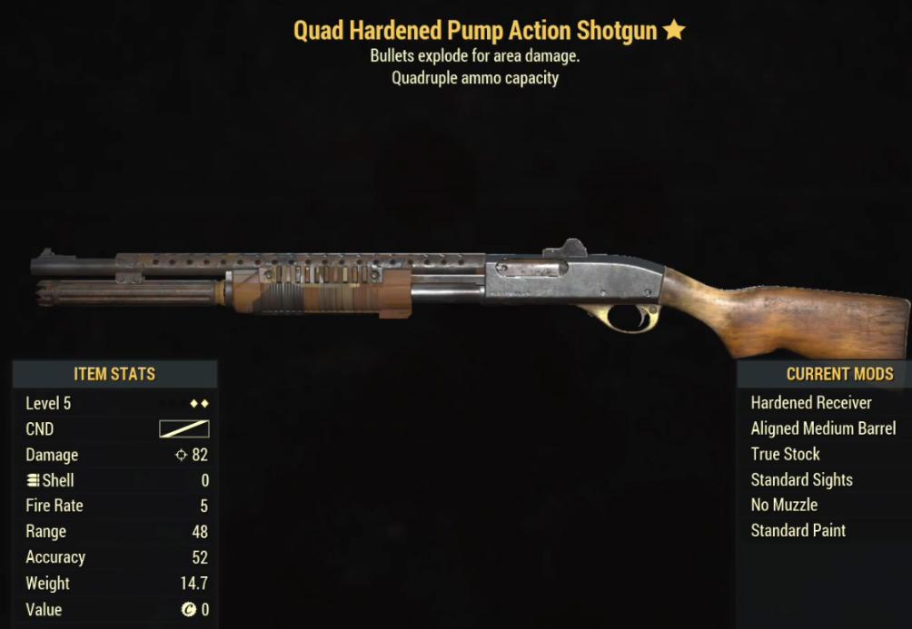 Quad Hardened Pump Action Shotgun- Level 5