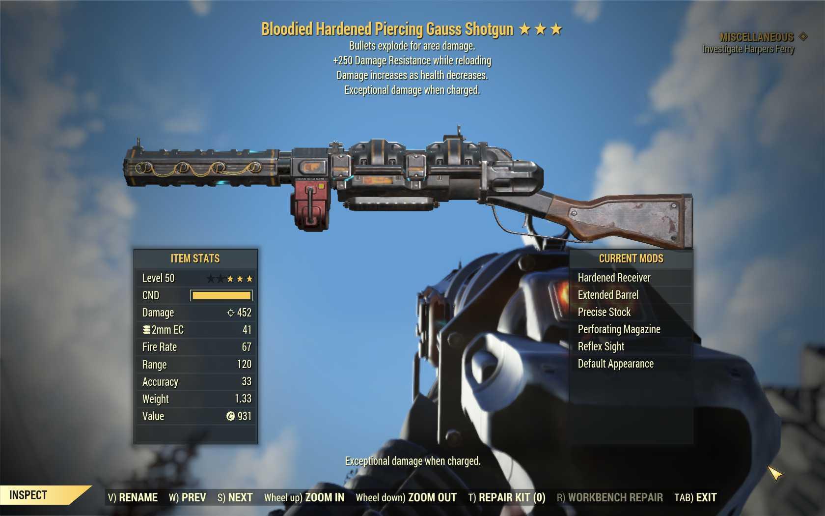 Bloodied EXPLOSIVE Gauss Shotgun + 250 Resist [Wastelanders DLC] [ULTRA RARE LEGACY]