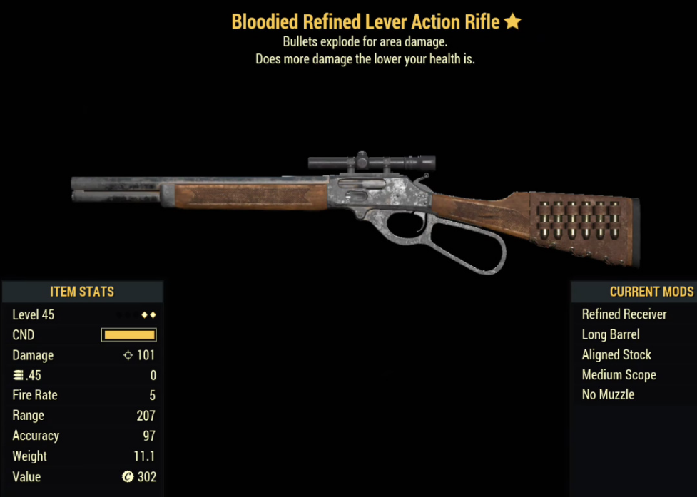 Bloodied Refined Lever Action Rifle- Level 45