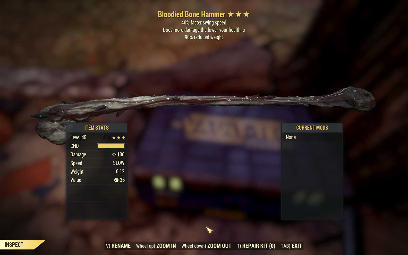 [3 Stars]Bloodied Bone Hammer+40% Faster Swing Speed-90% reduced weight