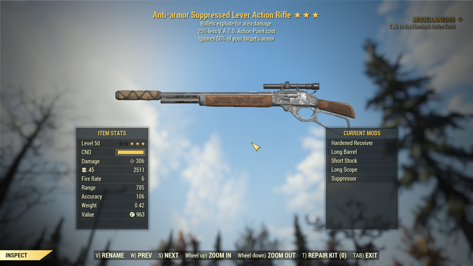 [Glitched Weapon] Anti-Armor Explosive Lever Action Rifle 25% Less VATS AP Cost [600+ DMG]