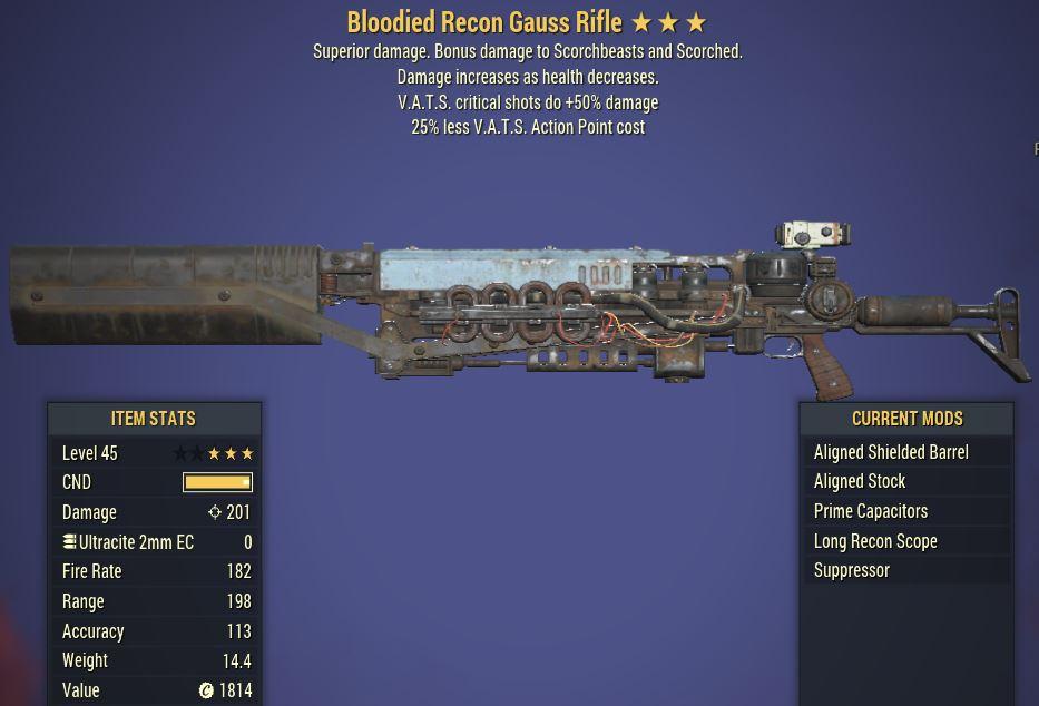 [PC] Bloodied Gauss Rifle [VATS crit shots do +50% DMG   25% Less VATS AP]