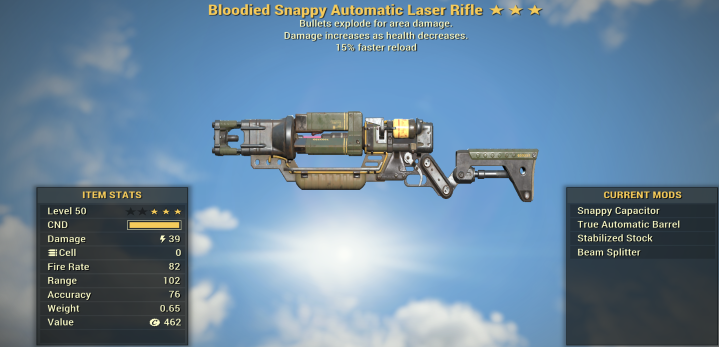 Bloodied Explosive Laser Rifle + 15% Faster Reload
