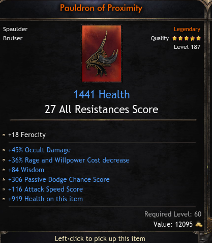 Mage Set Spaulder/Shoulder, 1441 Health, 45% Occult Damage, 36% Power Decrease, 84 Wisdom, 306 Passi
