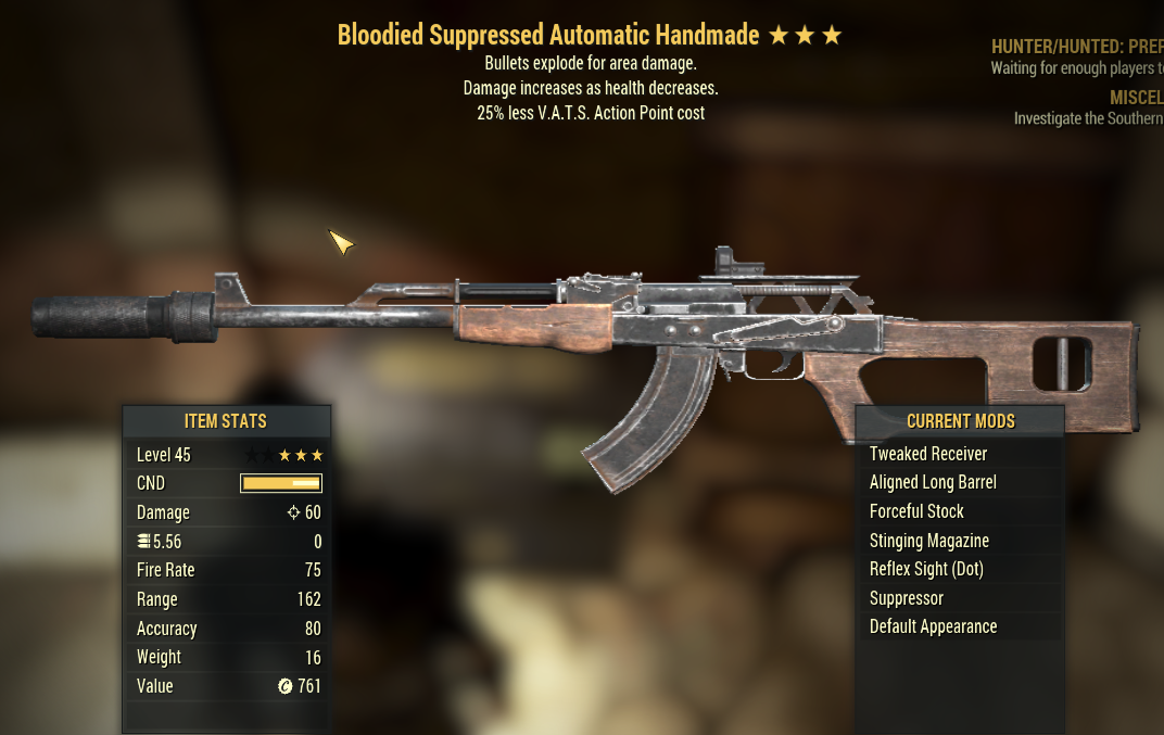 (PC) 3 Stars Bloodied Automatic Handmade + Bullets Explode +25% less VATS AP cost
