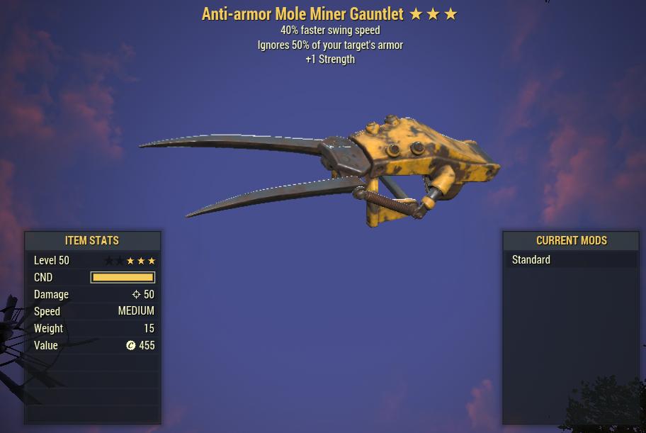 Anti-Armor 40% Faster swing Mole Miner Gauntlet [1 STRENGTH]