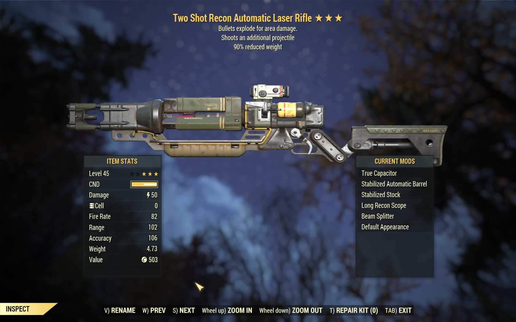 Two Shot Explosive Laser rifle (90% reduced weight)