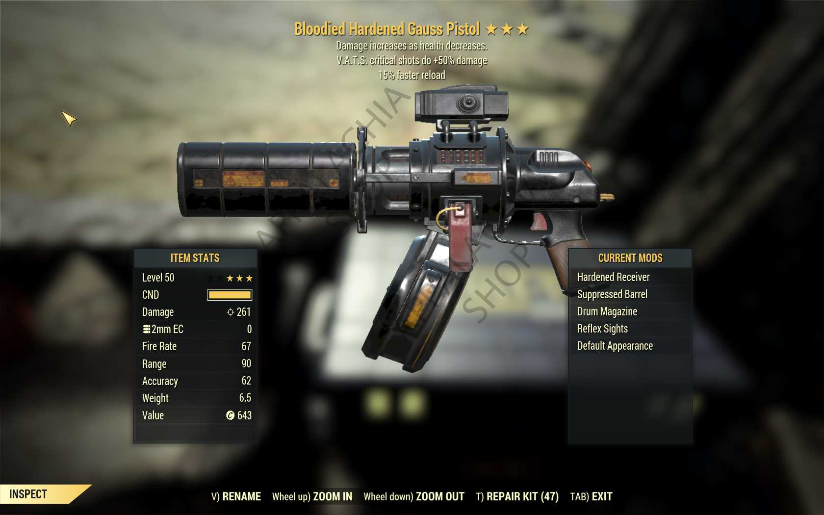 Bloodied Gauss Pistol (+50% critical damage, 15% faster reload) FULL MODDED [Wastelanders]