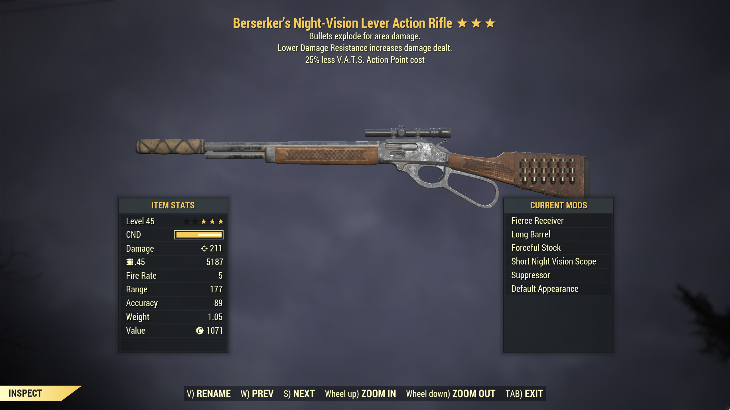 ★★★ Berserkes Explosive Lever Action Rifle[25% Less VATS] | FAST DELIVERY |