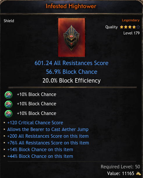 ★★★BEST SHIELD 601 ALL RES (Allow AETHER JUMP, 56.9% block, 120 crit hit) - INSTANT DELIVERY★★★