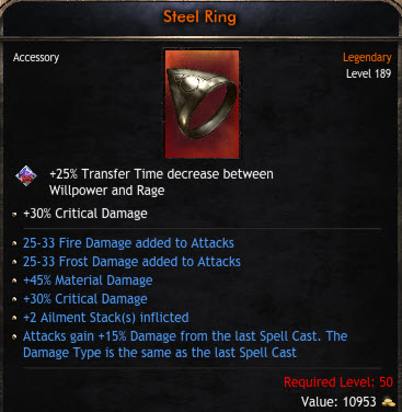 ✅BEST RING✅ 25-33 FROST &FIRE DAMAGE |45% MATERIAL & 30% CRITICAL DAMAGE|+2 AILMENT |15% ATK GAIN✅