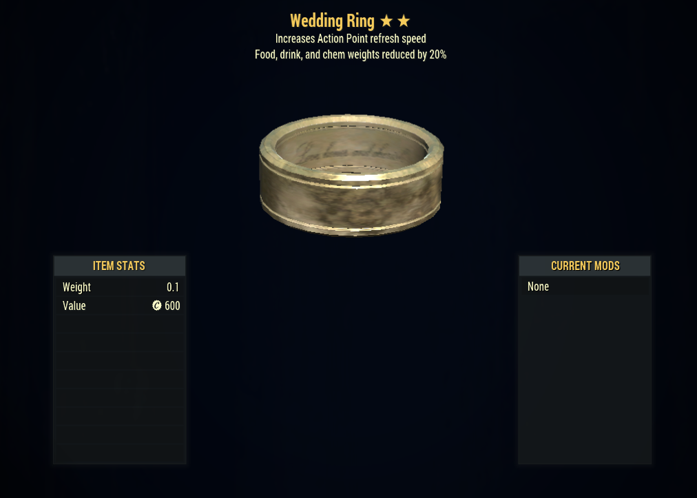 [PC] Wedding Ring (-20% Food, Drink, Chem Weights + AP Refresh)