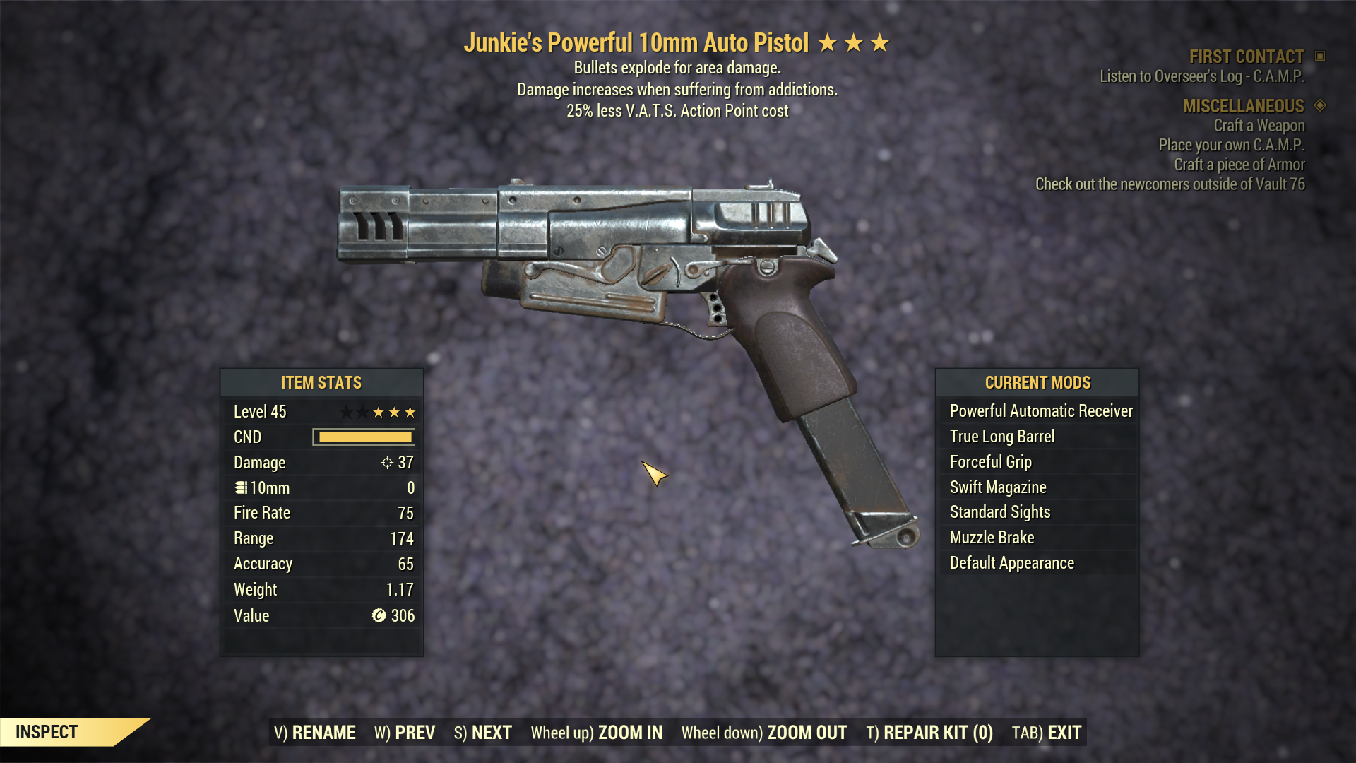 [PC] Junkie 10mm Pistol Explosive [ 25% Less VATS AP]