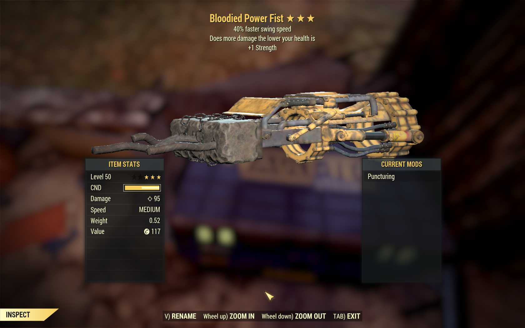 Bloodied Power Fist (40% Faster Swing Speed, +1 Strength)