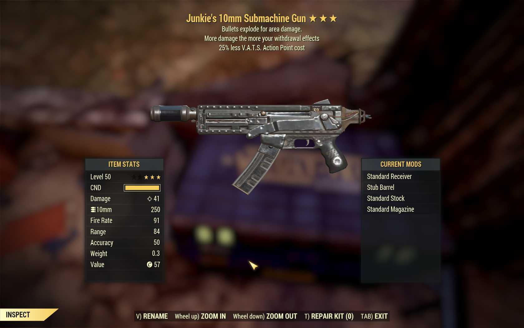 [3 Stars]Junkie's+Explosive 10mm Submachine Gun+25% less VATS AP cost)