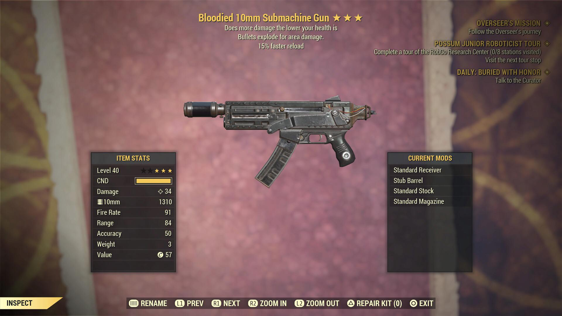 Bloodied 10mm submachingun with 10% more damage while aiming and faster movement speed while aiming