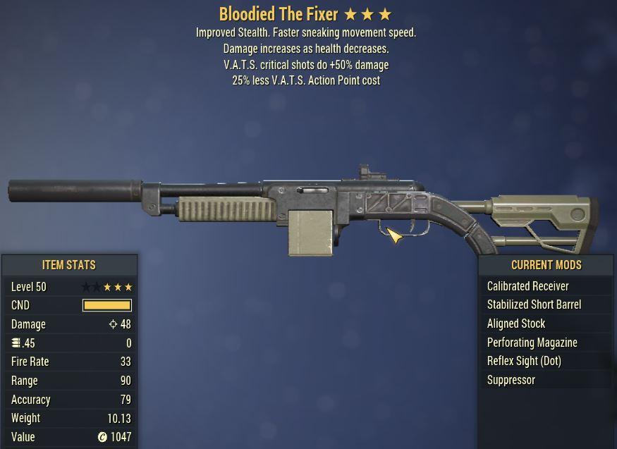 [PC] Bloodied The Fixer [25% Less Vats AP | VATS crit shots do +50% DMG]