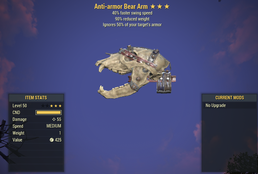 Anti-Armor 40% Faster Swing Speed Bear Arm 90% Reduced Weight