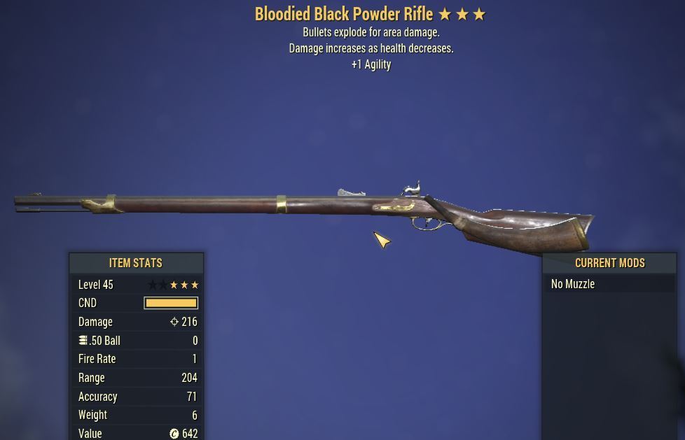 [PC] Bloodied Explosive Black Powder Rifle [+1 AGI]
