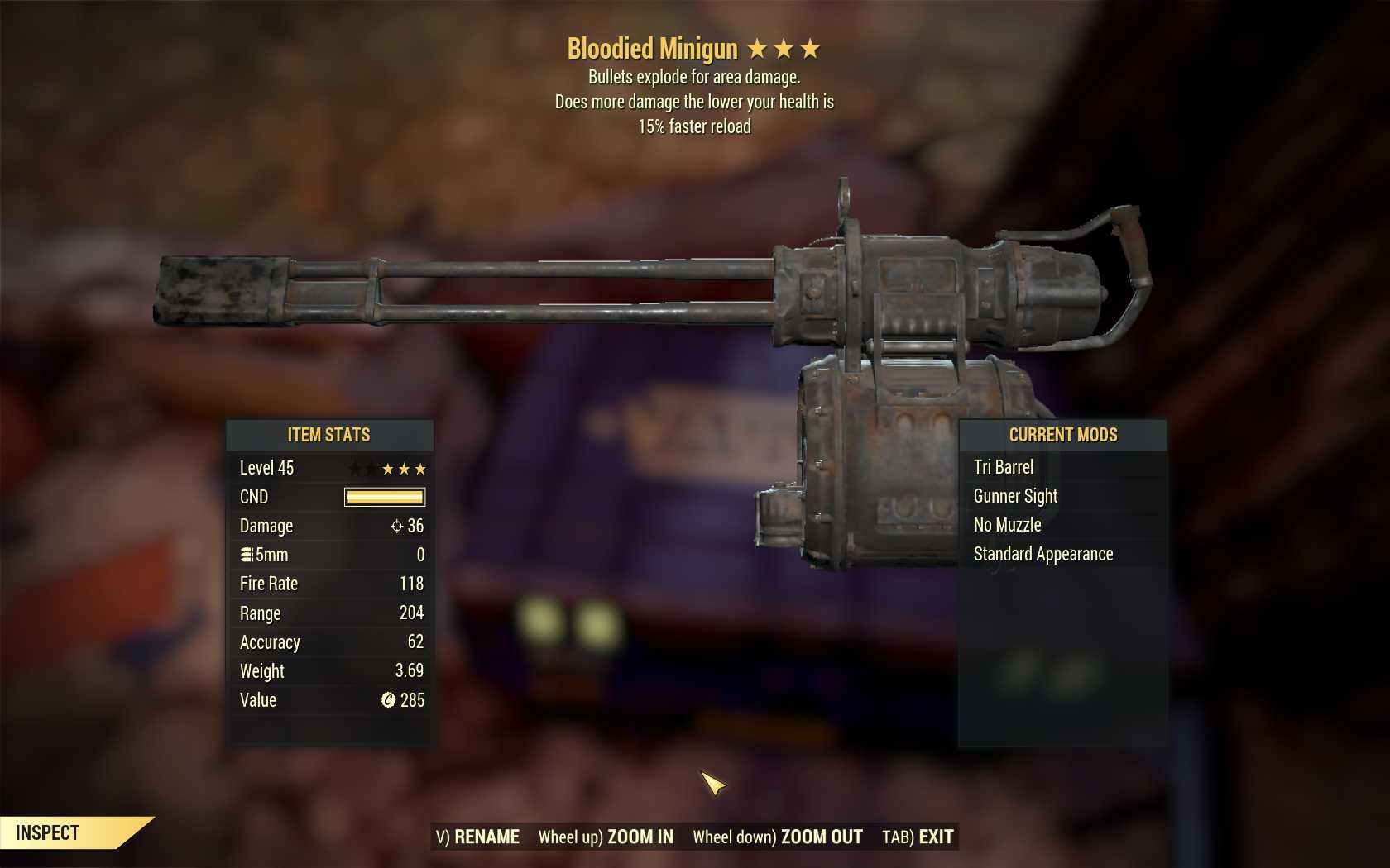 Bloodied Explosive Minigun (15% faster reload)