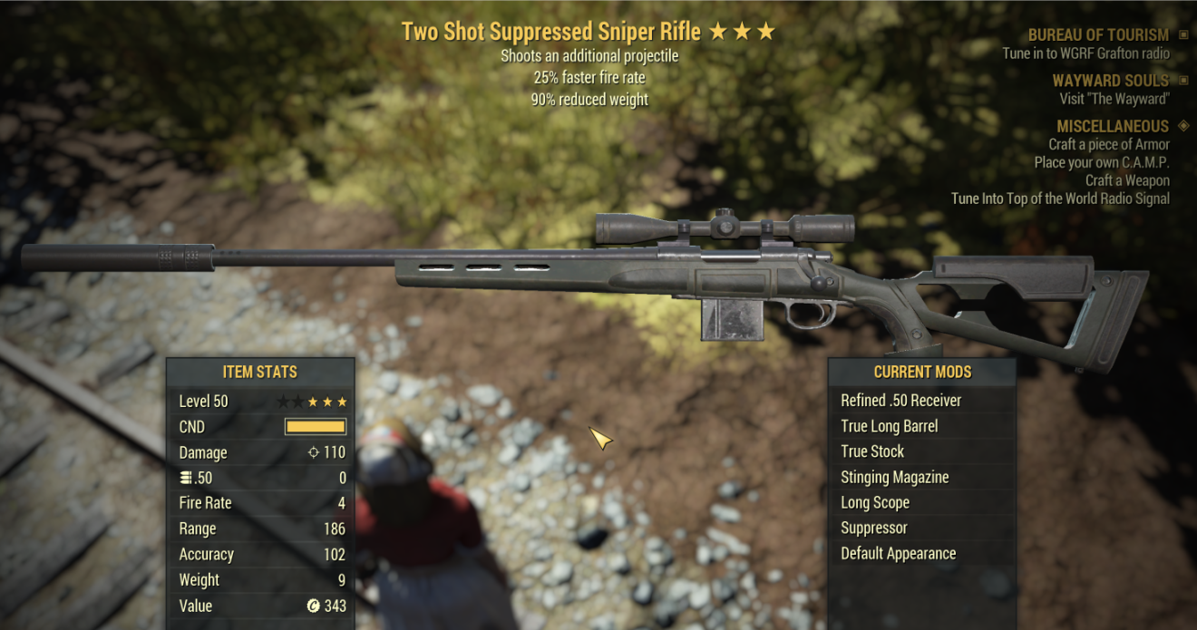 Two Shot Suppressed Sniper Rifle★★★ 25% faster fire rate 90% reduced weight