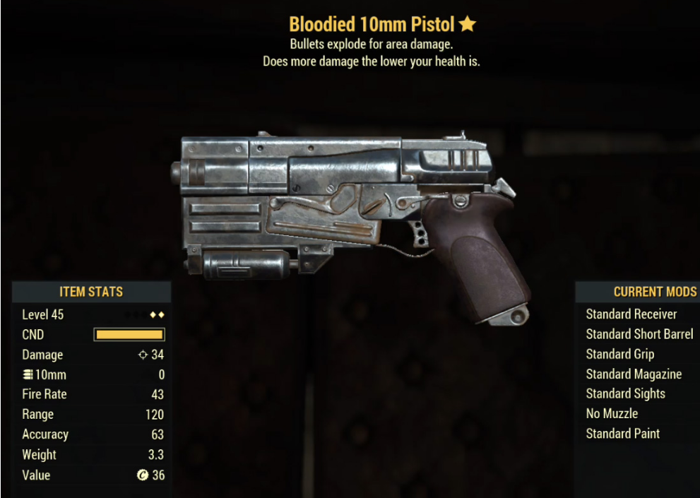 Bloodied 10mm Pistol- Level 45