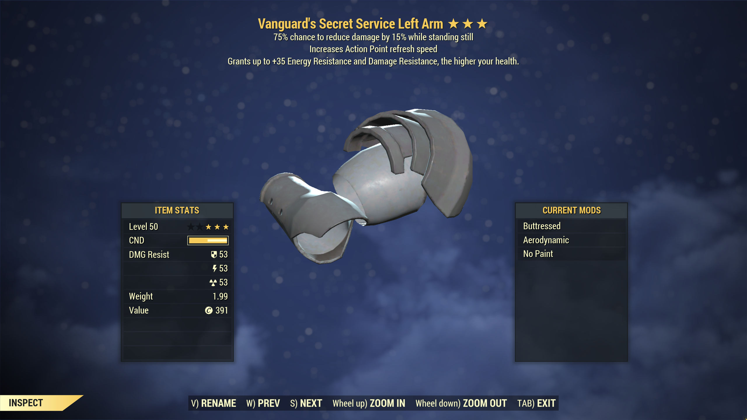 [Wastelanders]★★★ Vanguard Sentinel Secret Service Armor SET[5/5 AP Refresh] | FULLY MODDED |