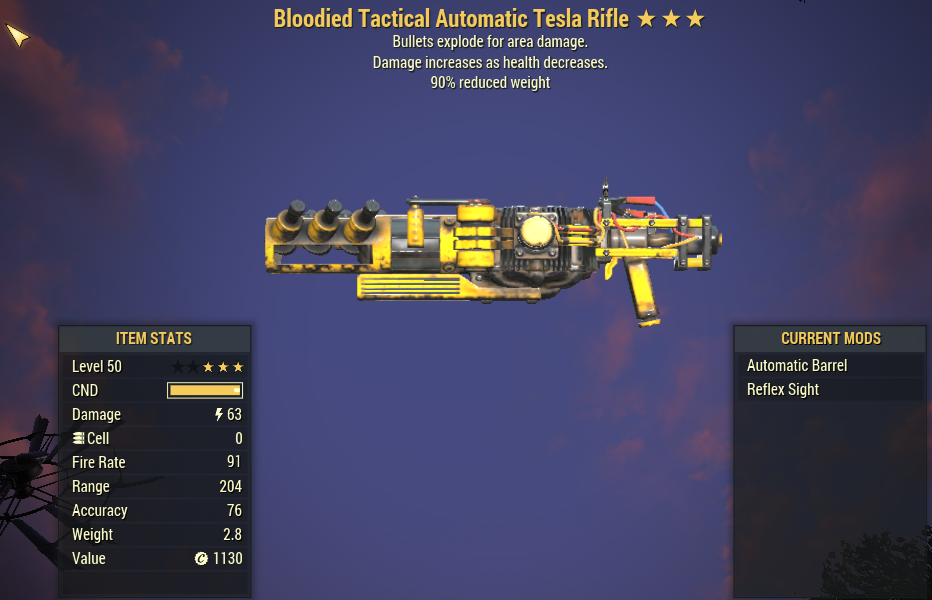 Bloodied Explosive Tesla Rifle 90% Reduced Weight