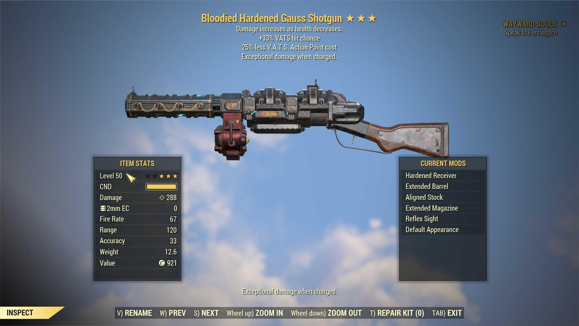 Bloodied Gauss Shotgun (+33% VATS hit chance, 25% less VATS AP cost) FULL MODDED [Wastelanders]