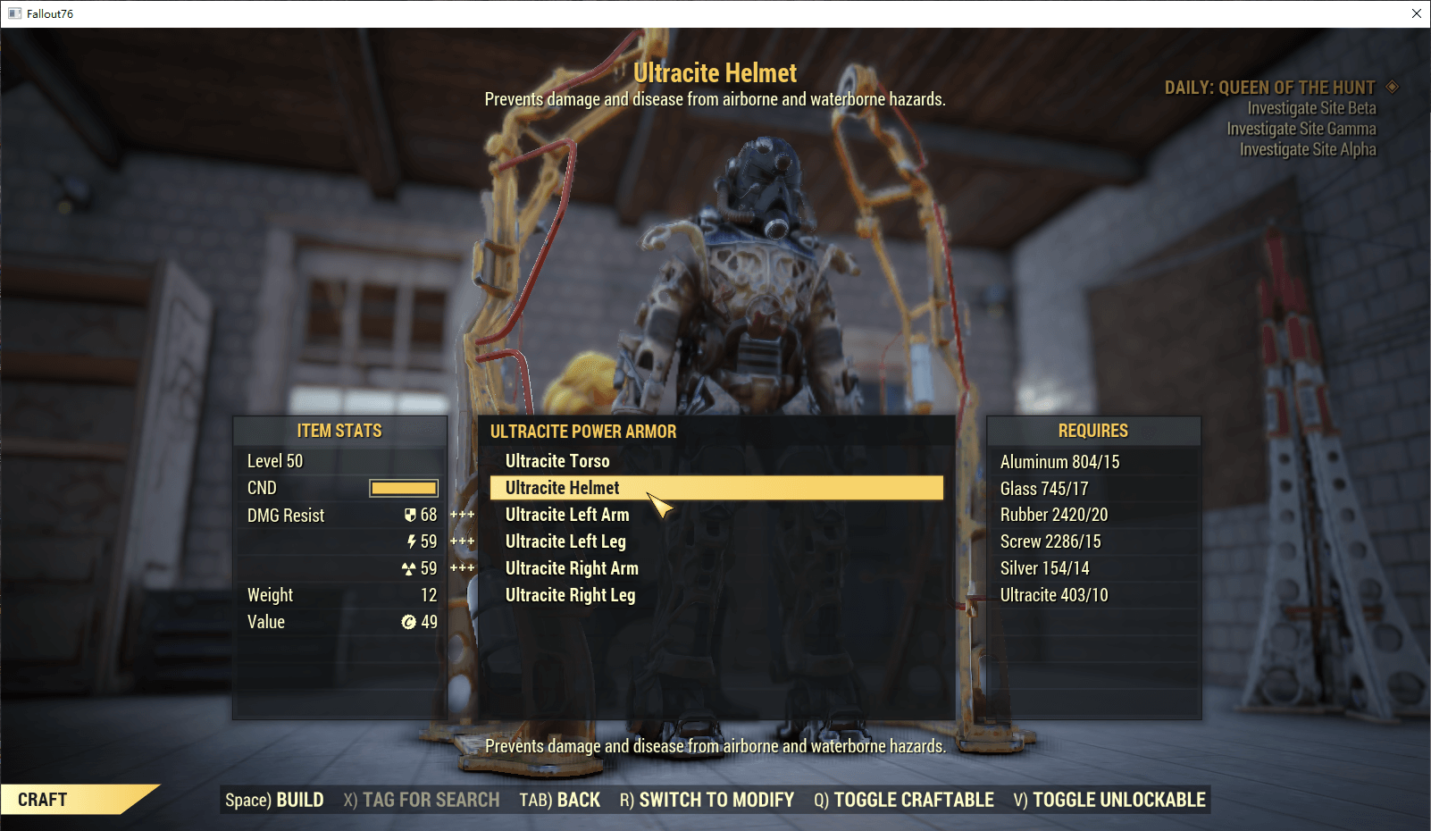 Full set Ultracite Power Armor(6/6 pieces)